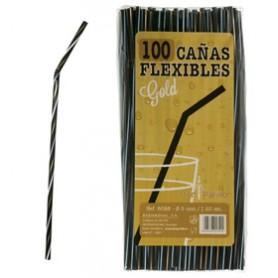 Black flexi Straws Decorated 100 pack